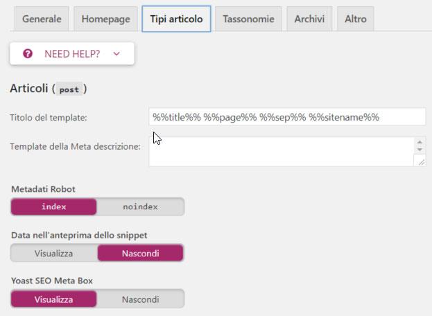YOAST SEO WordPress configurazione tipi articolo